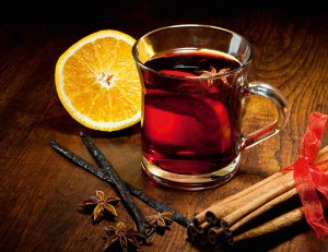 Hot wine for Christmas with delicious orange and spic