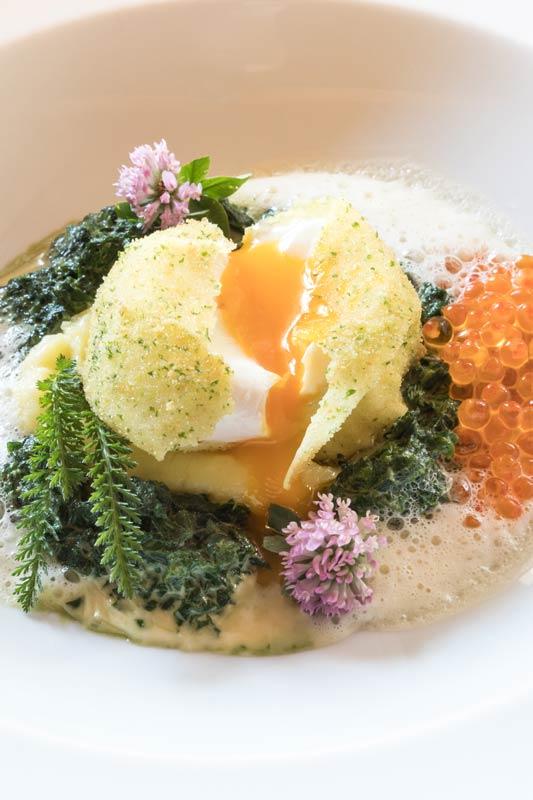 gebackenes Ei auf Kartoffelpuerree